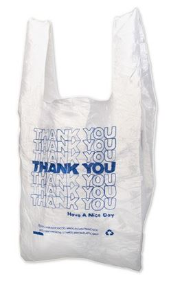 Picture of 1/6 HDPE (EZ-Open) Blue Thank you Shopping Bags