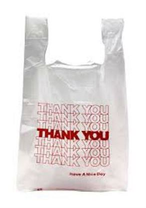 Picture of 1/10 HDPE Red Thank you Small Shopping  Bags