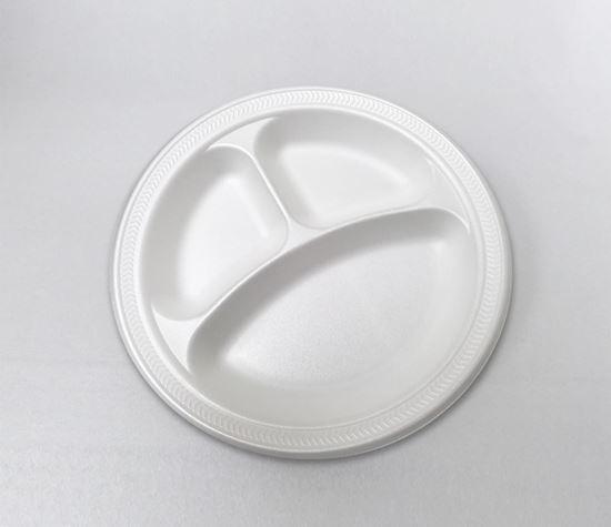 "Picture of 9"" Foam Plate 3 compartment (125/4) Bulk"