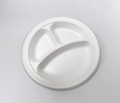 "Picture of 10.25"" Foam Plate 3 compartment (125x4) Bulk"