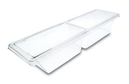 """Picture of Clear Plastic Food Bin Two Compartment 27""""x11""""x7 """""""